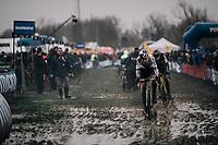 Wout Van Aert (BEL/Cibel-Cebon) trying to break free from Toon Aerts (BEL/Telenet Fidea Lions)<br /> <br /> Elite Men's Race<br /> Belgian National CX Championschips<br /> Kruibeke 2019