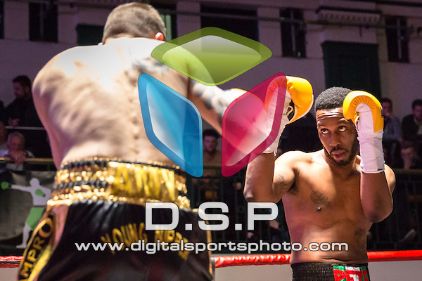 Peter Akubuko VS Danny Brown - Super Welterweight Contest. Photo by: Stephen Smith.<br /> <br /> Goodwin Boxing: Paddy's Day Punch Up - Saturday 19th March 2016. York Hall, Bethnal Green, London, United Kingdom.
