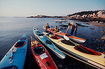Maine Island Trail, Sea kayakers and kayaks, Penobscot Bay, Maine, New England, United States, MITA is a boat only trail/campsite system along the Maine coast and outer islands,.