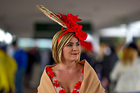 LOUISVILLE, KY - MAY 06: A woman wears a fascinator and shawl on Kentucky Derby Day at Churchill Downs on May 6, 2017 in Louisville, Kentucky. (Photo by Scott Serio/Eclipse Sportswire/Getty Images)