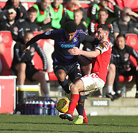 Fleetwood Town's Ched Evans battles with Luton Town's James Justin <br /> <br /> Photographer Mick Walker/CameraSport<br /> <br /> The EFL Sky Bet League One - Fleetwood Town v Luton Town - Saturday 16th February 2019 - Highbury Stadium - Fleetwood<br /> <br /> World Copyright © 2019 CameraSport. All rights reserved. 43 Linden Ave. Countesthorpe. Leicester. England. LE8 5PG - Tel: +44 (0) 116 277 4147 - admin@camerasport.com - www.camerasport.com