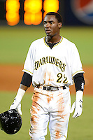 Bradenton Marauders shortstop Alen Hanson #22 during a game against the St. Lucie Mets on April 12, 2013 at McKechnie Field in Bradenton, Florida.  St. Lucie defeated Bradenton 6-5 in 12 innings.  (Mike Janes/Four Seam Images)