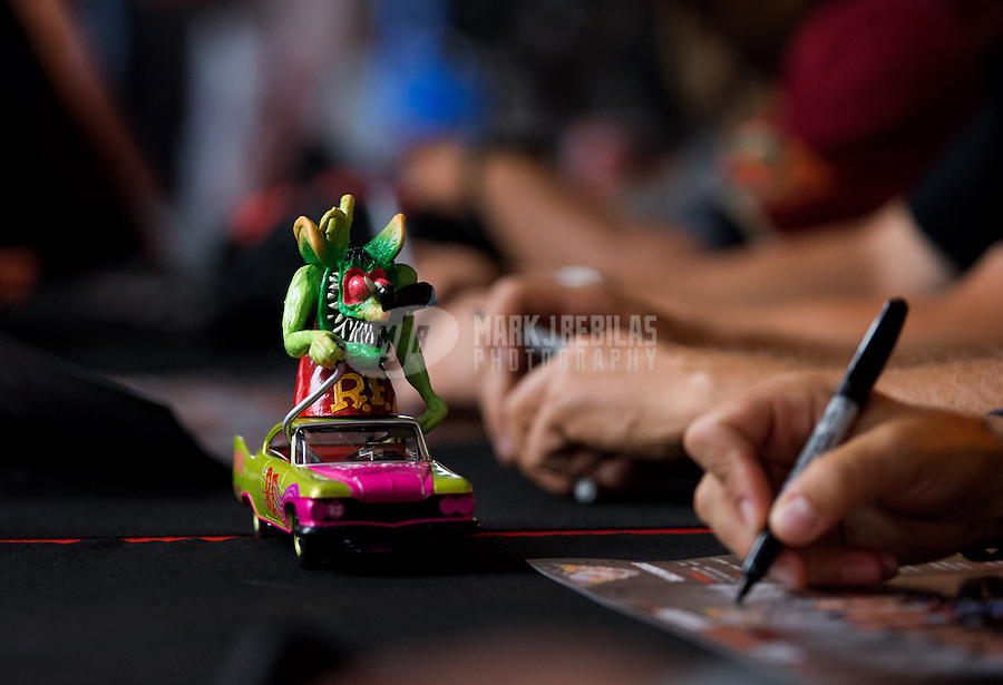 Sept. 20, 2013; Ennis, TX, USA: NHRA a Rat Fink figure in a toy car during the Fall Nationals at the Texas Motorplex. Mandatory Credit: Mark J. Rebilas-
