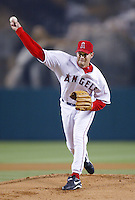 Aaron Sele of the Los Angeles Angels pitches during a 2002 MLB season game at Angel Stadium, in Anaheim, California. (Larry Goren/Four Seam Images)