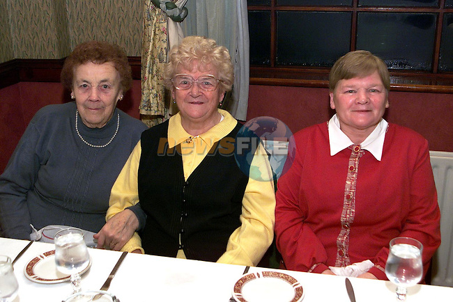 Rose Brennan, Ardee, Ciss Larkin, Mullacurry and Alice Gogarty, Collon at the senior citizens party in the Traveller's Rest..Picture Paul Mohan Newsfile