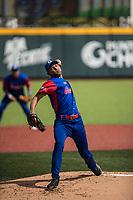 Ulfrido Garcia, pitcher inicial de los los Alazanes de Gamma de Cuba hace lanzamientos de la pelota en el primer inning durante el partido de beisbol de la Serie del Caribe contra los Criollos de Caguas de Puerto Rico en estadio de los Charros de Jalisco en Guadalajara, M&eacute;xico, Martes 6 feb 2018. <br /> (Foto: AP/Luis Gutierrez)