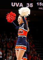 Virginia  cheerleader performs during an NCAA basketball game Saturday Feb, 24, 2014 in Charlottesville, VA. Virginia defeated Miami 65-40.