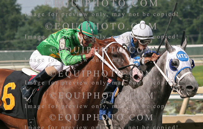 Dove Season #6 with John Bisono won the feature at Parx Racing in Bensalem, Pennsylvania August 11, 2012.  Second Taking A Chance #3 with Edwin Rivera.  Photo By Alyssa Spakowski/EQUI-PHOTO