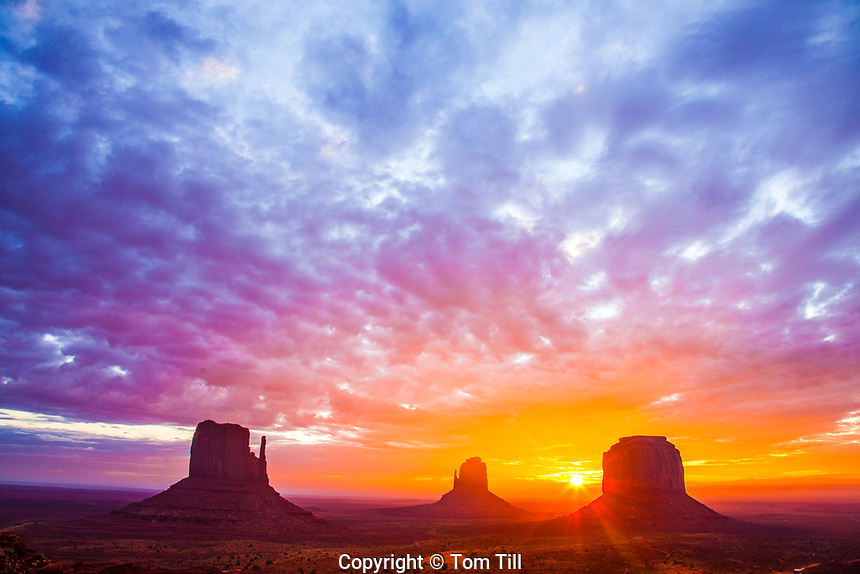 The Mittens at dawn, Monumnet Valley Tribal Park, Arizona   Navajo Reservation Mitten Buttes
