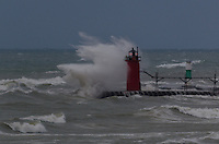 Autumn storm on South Haven Lighthouse.