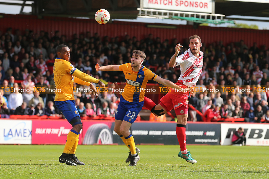 Luke Wilkinson of Stevenage goes close to a goal during Stevenage vs Mansfield Town, Sky Bet EFL League 2 Football at the Lamex Stadium on 22nd April 2017