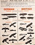 Identification poster for British and German army military aeroplanes and airships of the First World War, Radstock museum, Somerset, England, UK