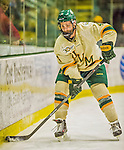 14 December 2013: University of Vermont Catamount Defenseman Nick Bruneteau, a Senior from Omaha, NB, in third period action against the Saint Lawrence University Saints at Gutterson Fieldhouse in Burlington, Vermont. The Catamounts defeated their former ECAC rivals, 5-1 to notch their 5th straight win in NCAA non-divisional play. Mandatory Credit: Ed Wolfstein Photo *** RAW (NEF) Image File Available ***