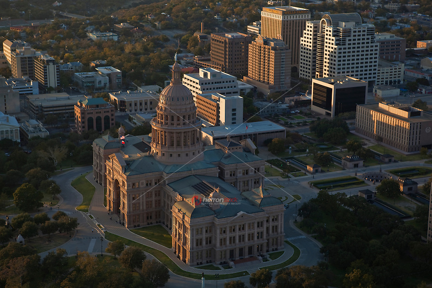 "Texas State Capitol Building in Austin. It is the tallest state capitol in the USA, and is built of ""sunset red"" Texas granite from Marble Falls. Austin is the state capital of Texas."