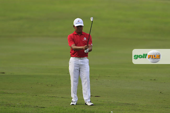 Nicholas Fung (MAY) Team Asia prepares to play his 2nd shot on the 1st hole during Match 1 of Friday's Fourball Matches of the 2016 Eurasia Cup presented by DRB-HICOM, held at the Glenmarie Golf &amp; Country Club, Kuala Lumpur, Malaysia. 15th January 2016.<br /> Picture: Eoin Clarke | Golffile<br /> <br /> <br /> <br /> All photos usage must carry mandatory copyright credit (&copy; Golffile | Eoin Clarke)