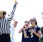 03 April 2016: Notre Dame's Rachel Sexton (5) is shown a yellow card. The University of North Carolina Tar Heels hosted the University of Notre Dame Fighting Irish in a 2016 NCAA Division I Women's Lacrosse match. Maryland won the game 14-8.