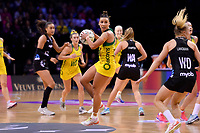 Diamonds&rsquo; Kelsey Browne in action during the International Netball Constellation Cup - NZ Silver Fans v Australia Diamonds at TSB Bank Arena, Wellington, New Zealand on Thursday 18 October  2018. <br /> Photo by Masanori Udagawa. <br /> www.photowellington.photoshelter.com