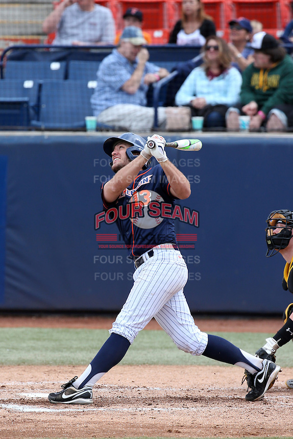 Timmy Richards (13) of the Cal State Fullerton Titans bats against the Wichita State Shockers at Goodwin Field on March 13, 2016 in Fullerton, California. Cal State Fullerton defeated Wichita State, 7-1. (Larry Goren/Four Seam Images)