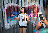 Incoming Occidental College students participate in Oxy Engage with the group Social Justice and tour graffiti art in the Arts District, near downtown Los Angeles, on Aug. 23, 2016. Oxy Engage is a pre-orientation program that introduces incoming students to the vibrant city of Los Angeles. Upperclassmen facilitators lead trips to experience culture, film, food, nature, social justice, the urban environment, and much more.<br />