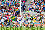 Killian Young,  Kerry in action against Padraig O'Neill, Kildare in the All Ireland Quarter Final at Croke Park on Sunday.