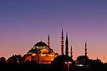 Suleymaniye Sundown 03 - Suleymaniye Mosque and Rustem pasa Mosque at sundown, from Eminonu, Istanbul, Turkey. Taken five minutes after Suleymaniye Sundown 02.