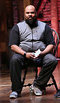 """James Monroe Iglehart from the 'Hamilton' cast during a Q & A before The Rockefeller Foundation and The Gilder Lehrman Institute of American History sponsored High School student #EduHam matinee performance of """"Hamilton"""" at the Richard Rodgers Theatre on October 25, 2017 in New York City."""