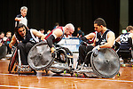 Nazim Erdem and Kadir Faki work together to box in Qld's star player, Chris Bond, in the final of the National Wheelchair Rugby Championships 2013.<br />