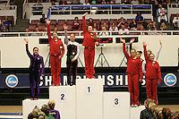 8 April 2006: Tabitha Yim, Natalie Foley, Nicole Ourada, and Kelly Fee during the NCAA West Regional women's gymnastics championships at Maples Pavilion in Stanford, CA.