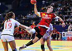 BELGRADE, SERBIA - DECEMBER 16: Suzana Lazovic of Montenegro (R) jump to scores past Linn Gosse (L) of Norway during the Women's European Handball Championship 2012 gold medal match between Norway and Montenegro at Arena Hall on December 16, 2012 in Belgrade, Serbia. (Photo by Srdjan Stevanovic/Getty Images)