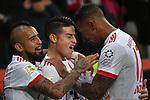12.01.2018, BayArena, Leverkusen , GER, 1.FBL., Bayer 04 Leverkusen vs. FC Bayern M&uuml;nchen<br /> im Bild / picture shows: <br /> mitte James Rodriguez (Bayern Muenchen #11),  freut sich &uuml;ber sein Tor zum 3:1 re Jerome Boateng (Bayern Muenchen #17),  liArturo Vidal (Bayern Muenchen #23), <br /> <br /> <br /> Foto &copy; nordphoto / Meuter