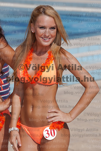 Szimonetta Simon participates the Miss Bikini Hungary beauty contest held in Budapest, Hungary on August 29, 2010. ATTILA VOLGYI