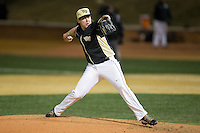 Wake Forest Demon Deacons relief pitcher Will Craig (22) delivers a pitch to the plate against the Delaware Blue Hens at Wake Forest Baseball Park on February 13, 2015 in Winston-Salem, North Carolina.  The Demon Deacons defeated the Blue Hens 3-2.  (Brian Westerholt/Four Seam Images)