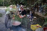 TURKEY Sakarya, women conserve tomato at farm / TUERKEI, Frauen auf einem Bauernhof kochen Tomatenmark ein