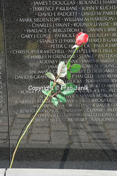 A single rose is left for a loved one at the Vietnam war memorial in Washinton DC.