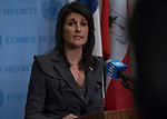 Nikki R. Haley (at podium), Permanent Representative of the United States to the UN, speaks to journalists about developments on the Korean Peninsula and in Iran.