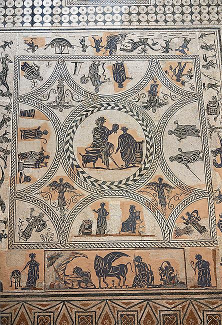 3rd century black & white Roman Mosaics from Merida, Merida Archaeological Museum, Spain
