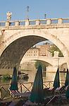 Rome, Italy, Ponte Vittorio Emanuele II from beneath Ponte San Angelo, Tiber River, Europe,