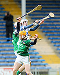 XXjob 06/05/2015 SPORT<br /> Limerick Kyle Hayes &amp; Seamus Flanagan &amp; Waterford's Willie O'Meara  in Action during their 2015 Electric Ireland Munster GAA Hurling Minor Championship.<br /> Picture  Credit Brian Gavin Press 22