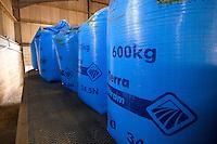 Fertilizer bags on a trailer.