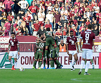 27th October 2019; Olympic Grande Torino Stadium, Turin, Piedmont, Italy; Serie A Football, Torino versus Cagliari; Cagliari players celebrate Nahitan Nandez of Cagliari after he has scored the goal for 0-1 in the 41st minute - Editorial Use