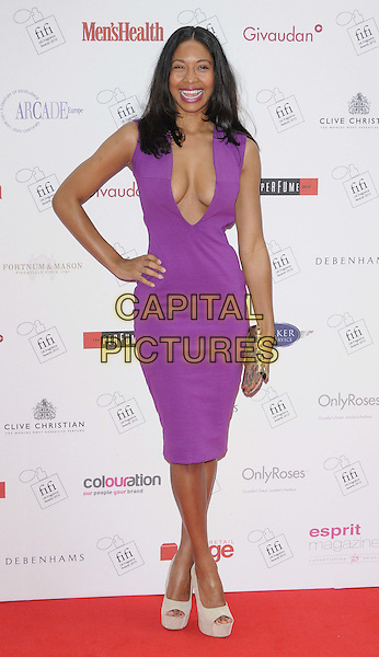 Shanika Warren-Markland.The FiFi UK Fragrance Awards 2012 at The Brewery, Chiswell Street, London, England..May 17th 2012.full length dress purple pink fuschia sleeveless plunging neckline cleavage hand on hip grey gray platform peep toe shoes.CAP/CAN.©Can Nguyen/Capital Pictures.