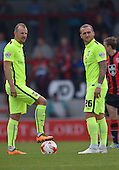 07/05/2016 Sky Bet League Two Morecambe v York City<br /> Luke Summerfield and Lewis Alessandra prepare for kick off