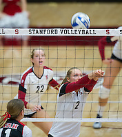STANFORD, CA - October 11, 2013:  The Stanford Cardinal vs Utah Utes at Maples Pavilion in Stanford, CA. Stanford wins the match 3-0.