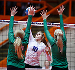 November 22, 2019; Rapid City, SD, USA; Caitlyn Pruis #10 of Sioux Falls Christian attempts a kill against Miller at the 2019 South Dakota State Volleyball Championships at the Rushmore Plaza Civic Center in Rapid City, S.D. (Richard Carlson/Inertia)