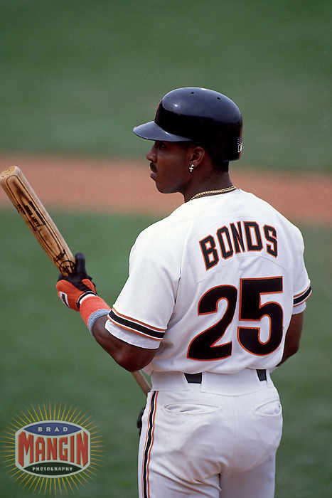 SCOTTSDALE, AZ - Barry Bonds of the San Francisco Giants waits in the on deck circle during a spring training game at Scottsdale Stadium in Scottsdale, Arizona in 1993. Photo by Brad Mangin