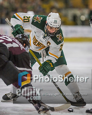 18 December 2016: University of Vermont Catamount Forward and Team Captain Brendan Bradley, a Senior from Warminster, PA, takes a second period face off against the Union College Dutchmen at Gutterson Fieldhouse in Burlington, Vermont. The Catamounts fell to their former ECAC hockey rivals 2-1, as the Dutchmen sweep the two-game weekend series. Mandatory Credit: Ed Wolfstein Photo *** RAW (NEF) Image File Available ***