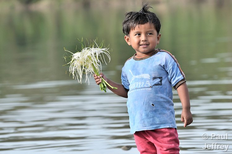 A boy carries flowers in Las Flores, Ixcan, Guatemala.