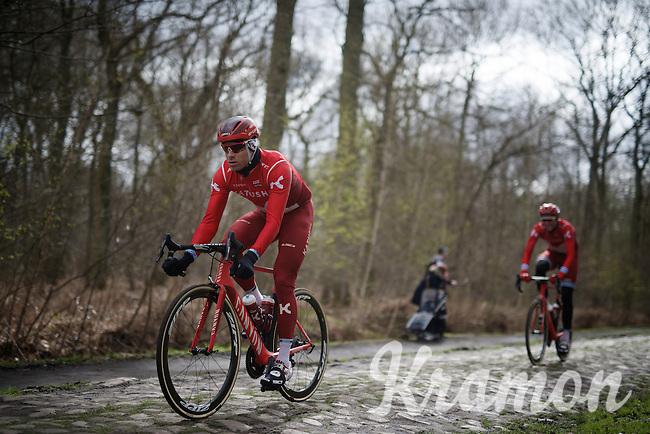 Alexander Kristoff (NOR/Katusha) over the infamous cobbles of sector 18: Trouée d'Arenberg (Bois de Wallers)<br /> <br /> recon of the 114th Paris - Roubaix