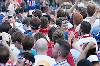 Kansas City, MO - Monday, June 16, 2014:  USA soccer fans cheer after the USA defeated Ghana in their first round World Cup match at a public viewing in the Power and Light District of Kansas City, Missouri.