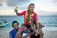 NAMOTU, Fiji (Wednesday, June 14, 2017) Matt Wilkinson being carried up the beach by Connor O'Leary (AUS)  and Luke Egan (AUS)- The Outerknown Fiji Pro, Stop No. 5 on the 2017 World Surf League (WSL) Championship Tour (CT), was completed today with Matt Wilkinson (AUS) defeating tour rookie Connor O'Leary (AUS) in the 40 minute final. Conditions at Cloudbreak this morning. were near perfect with sets in the 6'-8' range and light winds. With his win today Wilkinson jumps to the top of the world tour rankings after all of the top seeds were eliminated early in the event.<br />  Location:      Tavarua/Namotu, Fiji<br /> Event window:   June 4 - 16, 2017<br /> Today's call:<br />  Finals <br /> Conditions:         5 - 7 foot 1.5 - 2 metre)<br /> <br /> Photo: joliphotos.com